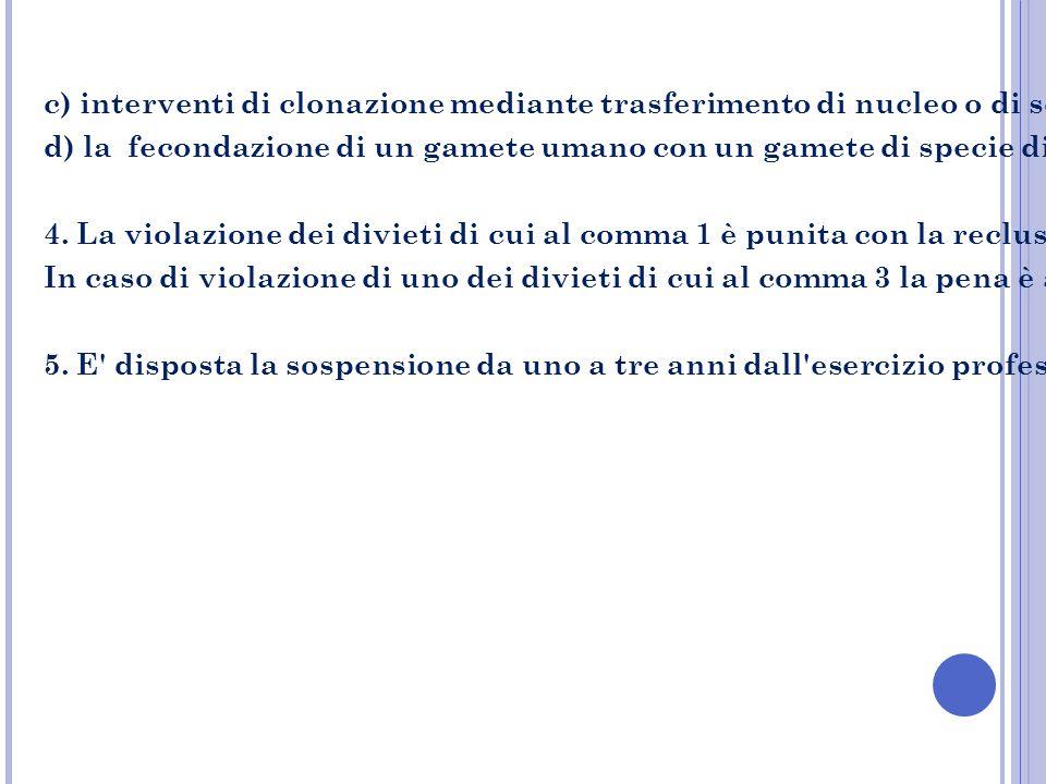 c) interventi di clonazione mediante trasferimento di nucleo o di scissione precoce dell'embrione o di ectogenesi sia si fini procreativi che di ricer