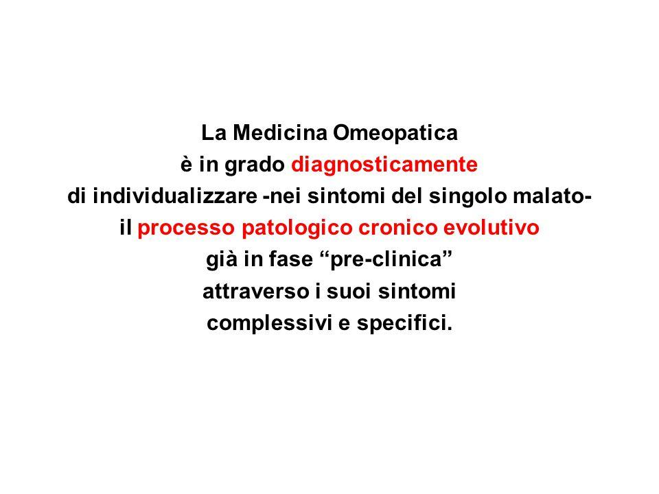 La Medicina Omeopatica è in grado diagnosticamente di individualizzare -nei sintomi del singolo malato- il processo patologico cronico evolutivo già i
