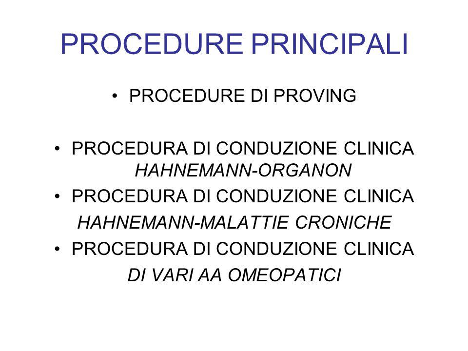 PROCEDURE PRINCIPALI PROCEDURE DI PROVING PROCEDURA DI CONDUZIONE CLINICA HAHNEMANN-ORGANON PROCEDURA DI CONDUZIONE CLINICA HAHNEMANN-MALATTIE CRONICH