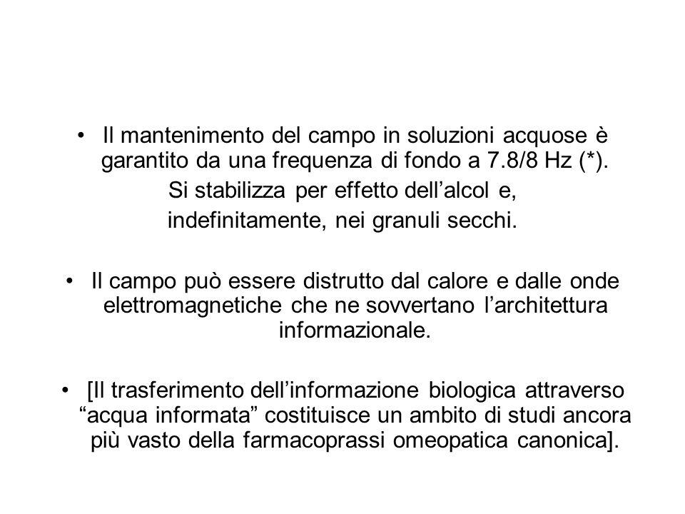 Il mantenimento del campo in soluzioni acquose è garantito da una frequenza di fondo a 7.8/8 Hz (*). Si stabilizza per effetto dellalcol e, indefinita