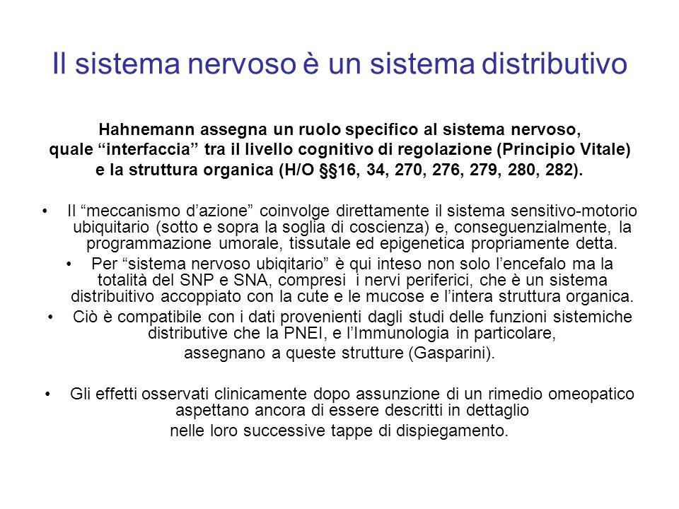 Il sistema nervoso è un sistema distributivo Hahnemann assegna un ruolo specifico al sistema nervoso, quale interfaccia tra il livello cognitivo di re