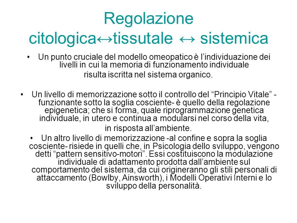 Regolazione citologicatissutale sistemica Un punto cruciale del modello omeopatico è lindividuazione dei livelli in cui la memoria di funzionamento in