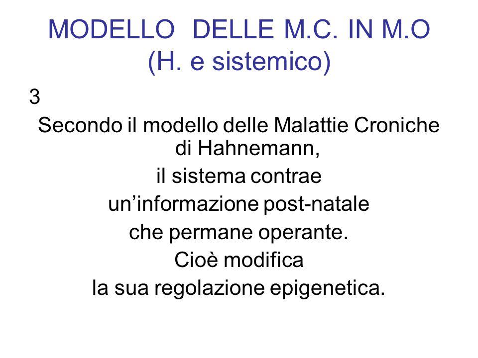 MODELLO DELLE M.C. IN M.O (H. e sistemico) 3 Secondo il modello delle Malattie Croniche di Hahnemann, il sistema contrae uninformazione post-natale ch