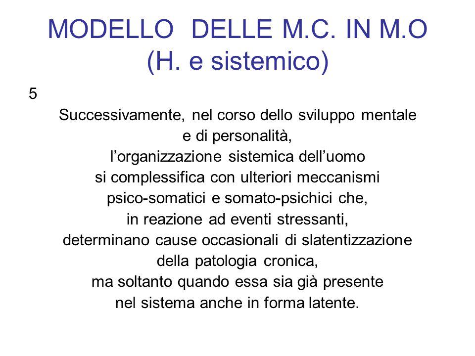 MODELLO DELLE M.C. IN M.O (H. e sistemico) 5 Successivamente, nel corso dello sviluppo mentale e di personalità, lorganizzazione sistemica delluomo si