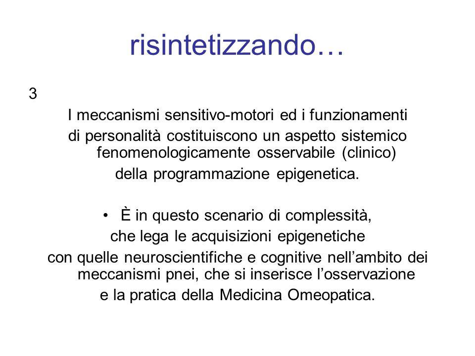 risintetizzando… 3 I meccanismi sensitivo-motori ed i funzionamenti di personalità costituiscono un aspetto sistemico fenomenologicamente osservabile