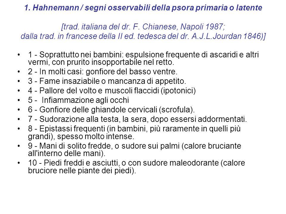 1. Hahnemann / segni osservabili della psora primaria o latente [trad. italiana del dr. F. Chianese, Napoli 1987; dalla trad. in francese della II ed.