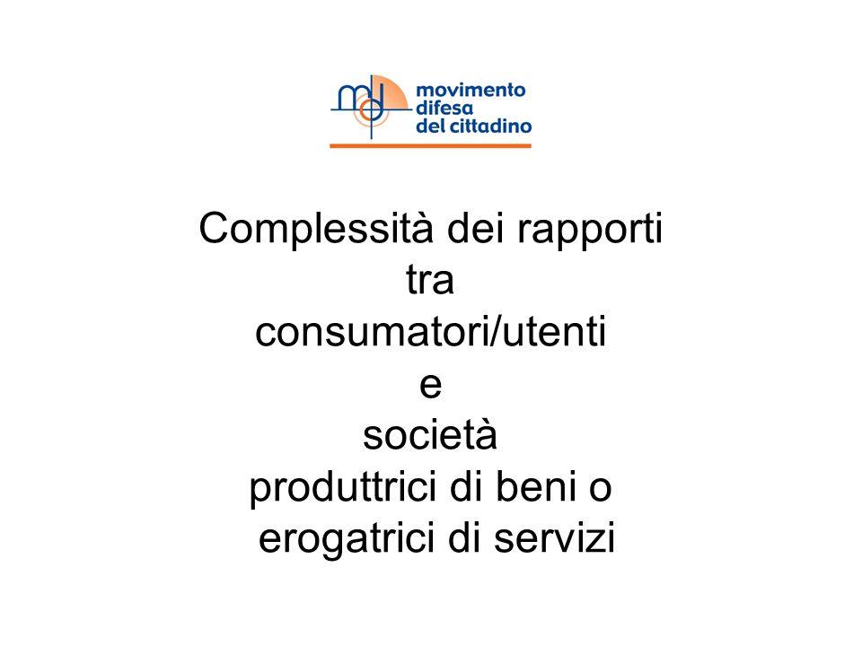 Complessità dei rapporti tra consumatori/utenti e società produttrici di beni o erogatrici di servizi
