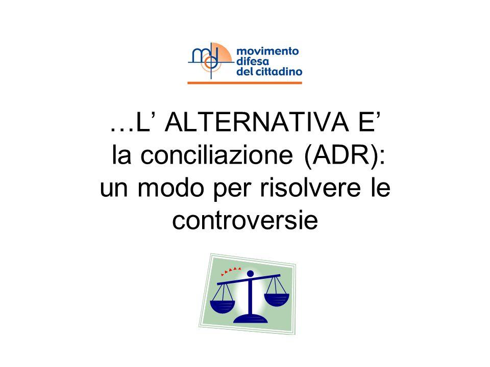 …L ALTERNATIVA E la conciliazione (ADR): un modo per risolvere le controversie