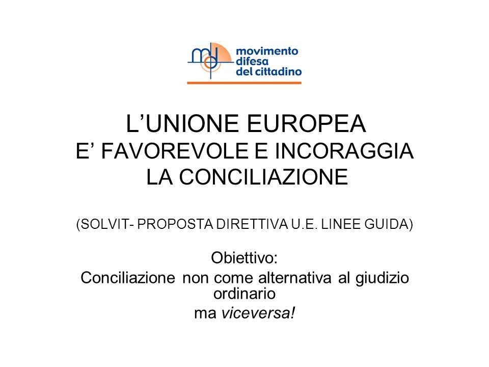 LUNIONE EUROPEA E FAVOREVOLE E INCORAGGIA LA CONCILIAZIONE (SOLVIT- PROPOSTA DIRETTIVA U.E. LINEE GUIDA) Obiettivo: Conciliazione non come alternativa