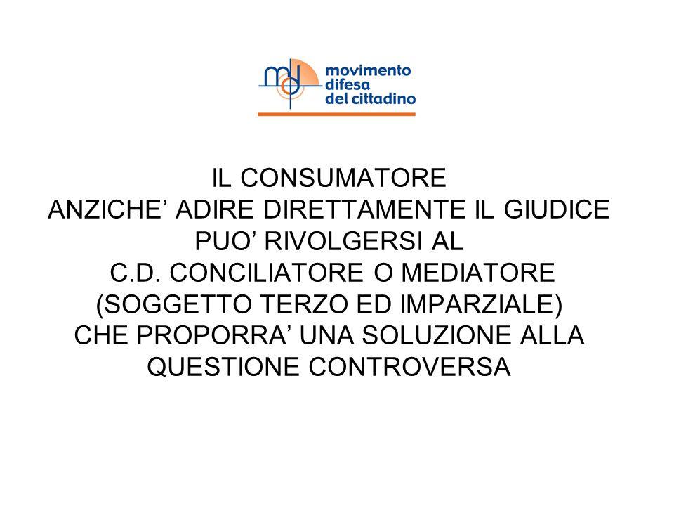 IL CONSUMATORE ANZICHE ADIRE DIRETTAMENTE IL GIUDICE PUO RIVOLGERSI AL C.D.