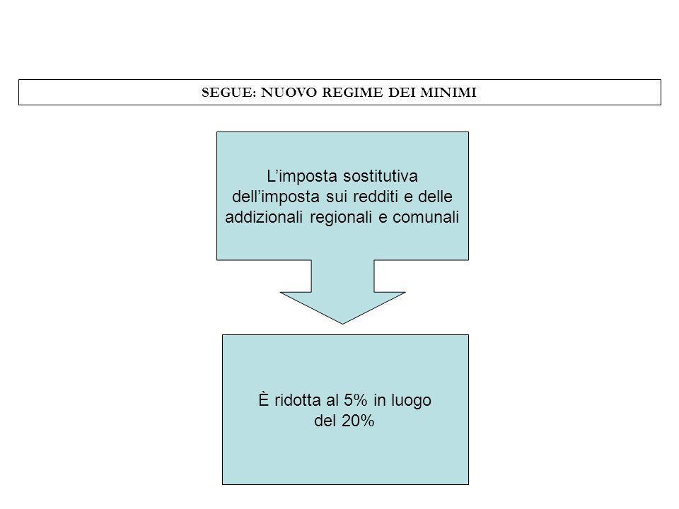 SEGUE: NUOVO REGIME DEI MINIMI Limposta sostitutiva dellimposta sui redditi e delle addizionali regionali e comunali È ridotta al 5% in luogo del 20%