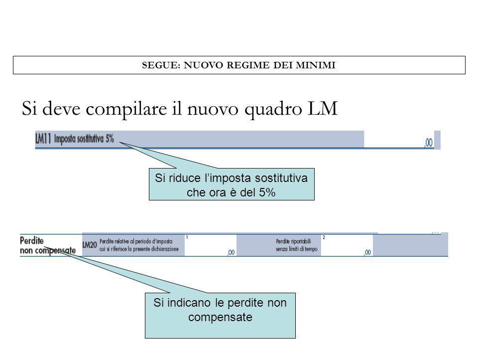 Si deve compilare il nuovo quadro LM SEGUE: NUOVO REGIME DEI MINIMI Si riduce limposta sostitutiva che ora è del 5% Si indicano le perdite non compens