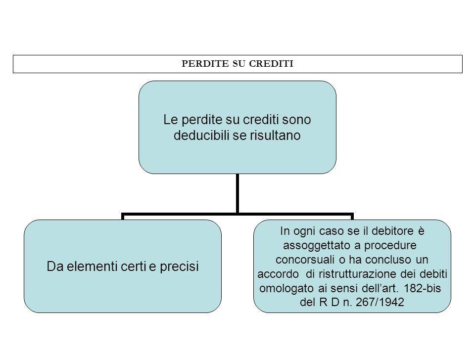 PERDITE SU CREDITI Le perdite su crediti sono deducibili se risultano Da elementi certi e precisi In ogni caso se il debitore è assoggettato a procedu