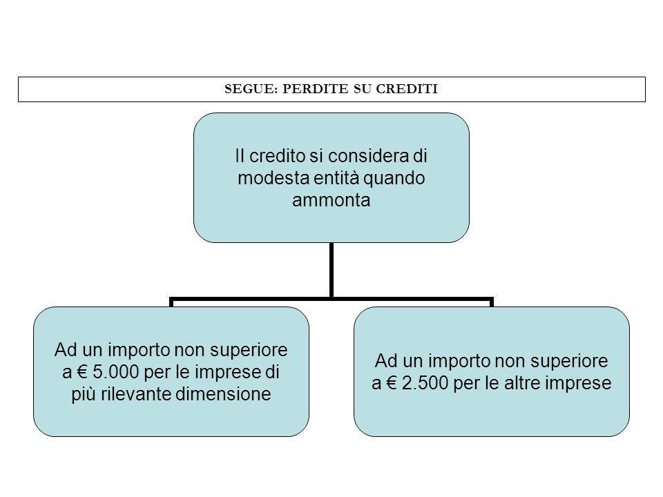 SEGUE: PERDITE SU CREDITI Il credito si considera di modesta entità quando ammonta Ad un importo non superiore a 5.000 per le imprese di più rilevante