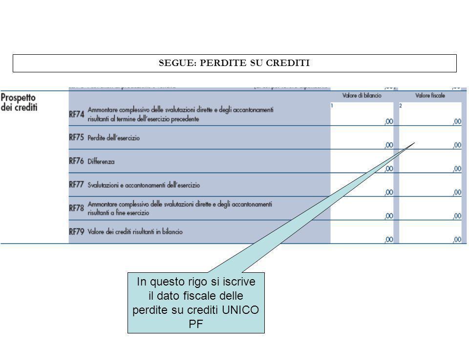 SEGUE: PERDITE SU CREDITI In questo rigo si iscrive il dato fiscale delle perdite su crediti UNICO PF