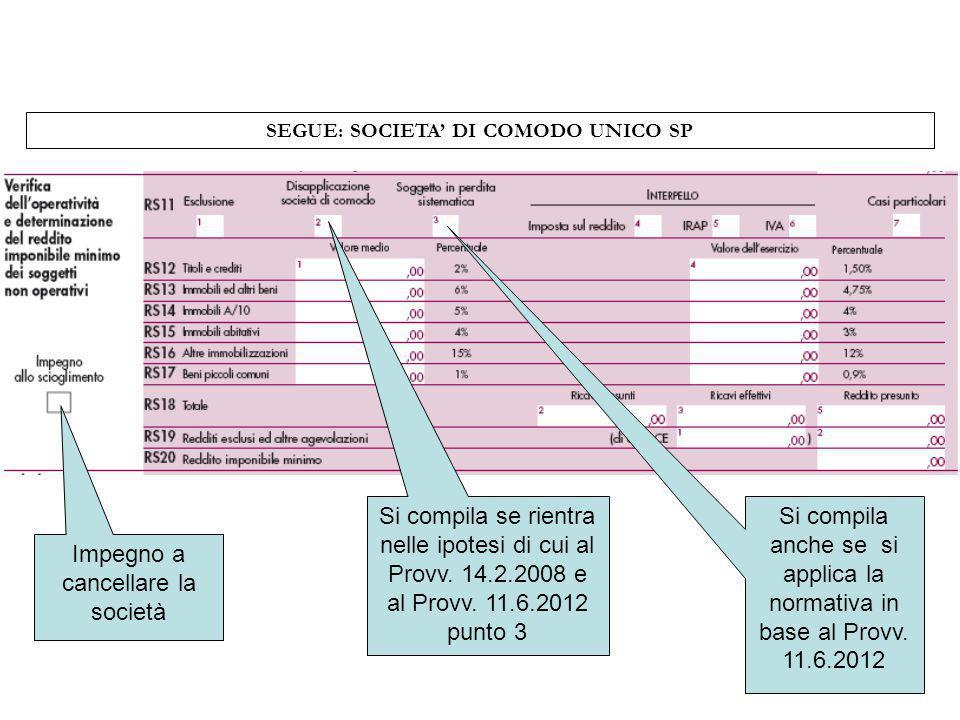 SEGUE: SOCIETA DI COMODO UNICO SP Impegno a cancellare la società Si compila se rientra nelle ipotesi di cui al Provv. 14.2.2008 e al Provv. 11.6.2012