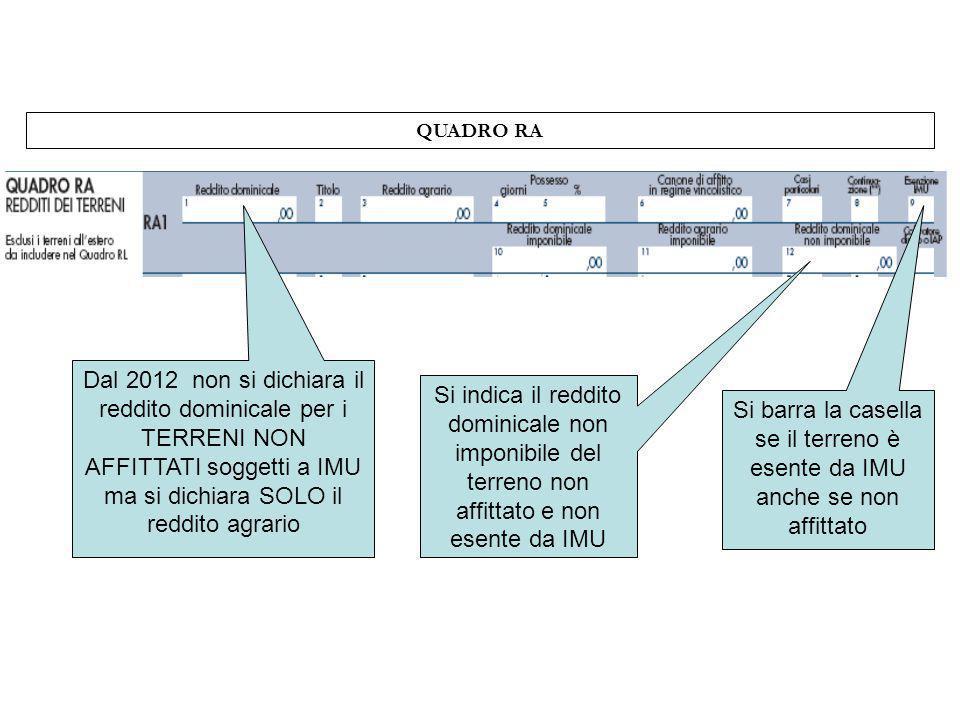 QUADRO RA Dal 2012 non si dichiara il reddito dominicale per i TERRENI NON AFFITTATI soggetti a IMU ma si dichiara SOLO il reddito agrario Si indica i