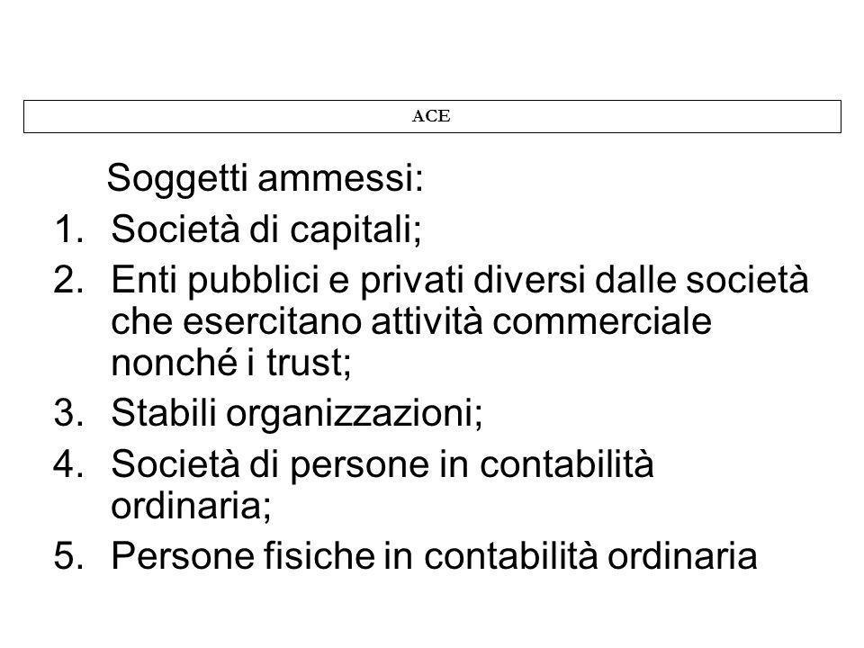 ACE Soggetti ammessi: 1.Società di capitali; 2.Enti pubblici e privati diversi dalle società che esercitano attività commerciale nonché i trust; 3.Sta