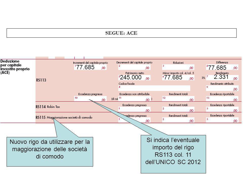 SEGUE: ACE 77.685 245.00077.685 2.331 Si indica leventuale importo del rigo RS113 col. 11 dellUNICO SC 2012 Nuovo rigo da utilizzare per la maggiorazi