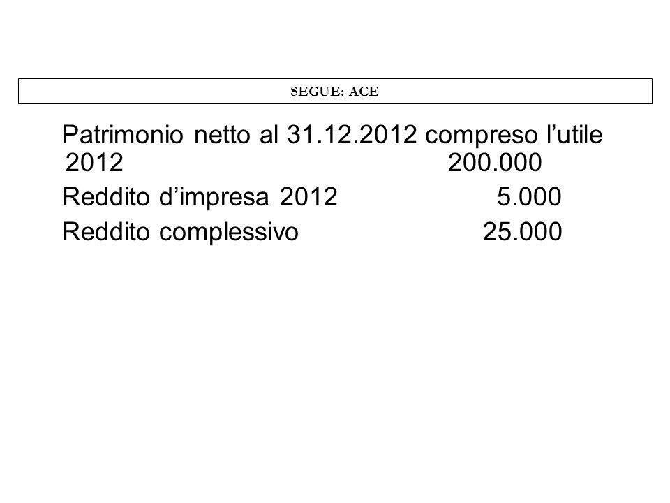SEGUE: ACE Patrimonio netto al 31.12.2012 compreso lutile 2012 200.000 Reddito dimpresa 2012 5.000 Reddito complessivo 25.000