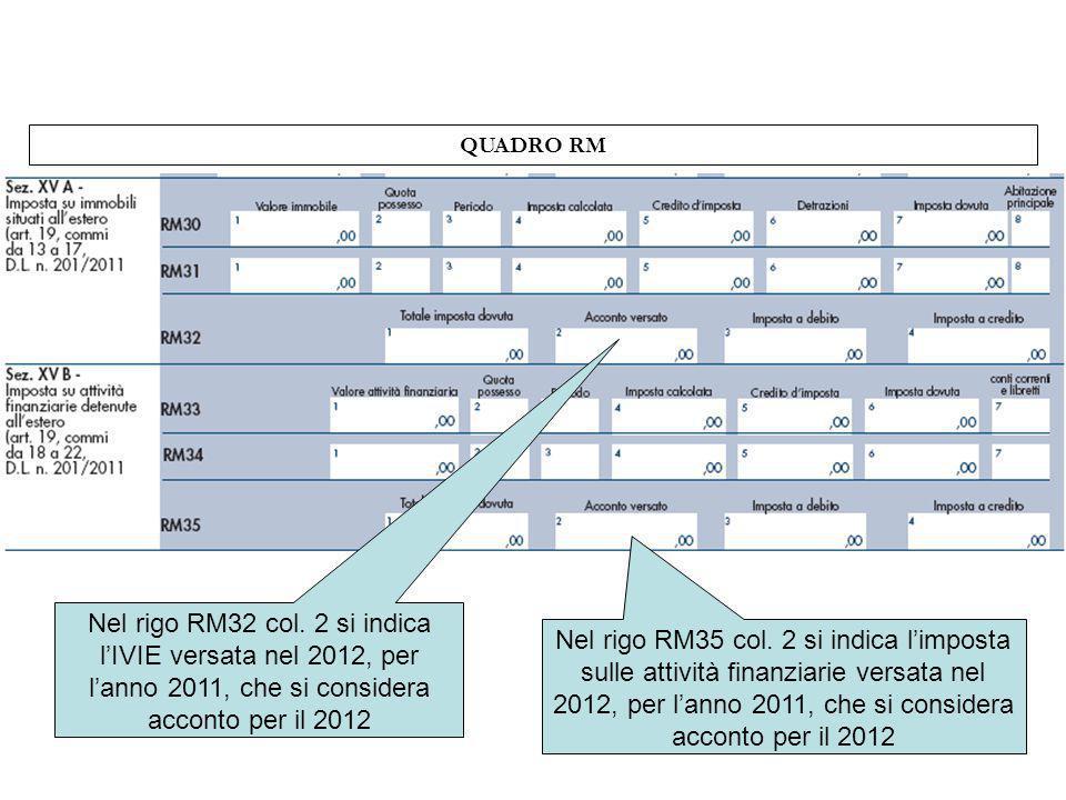 QUADRO RM Nel rigo RM32 col. 2 si indica lIVIE versata nel 2012, per lanno 2011, che si considera acconto per il 2012 Nel rigo RM35 col. 2 si indica l