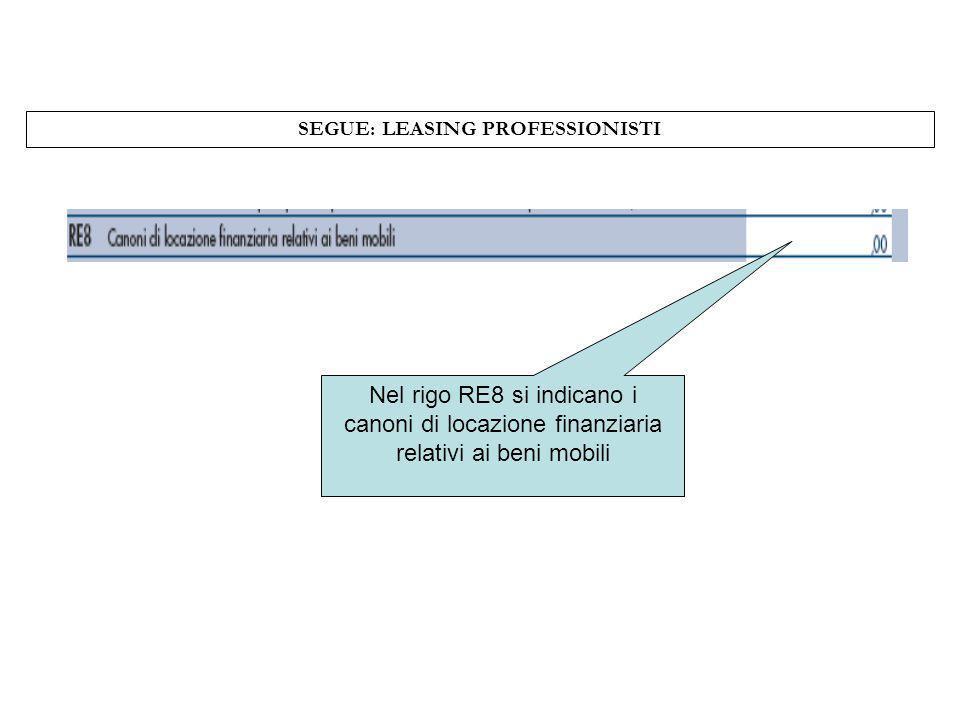 SEGUE: LEASING PROFESSIONISTI Nel rigo RE8 si indicano i canoni di locazione finanziaria relativi ai beni mobili