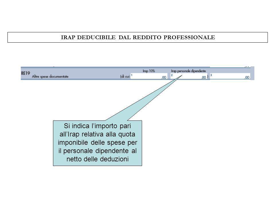 IRAP DEDUCIBILE DAL REDDITO PROFESSIONALE Si indica limporto pari allIrap relativa alla quota imponibile delle spese per il personale dipendente al ne