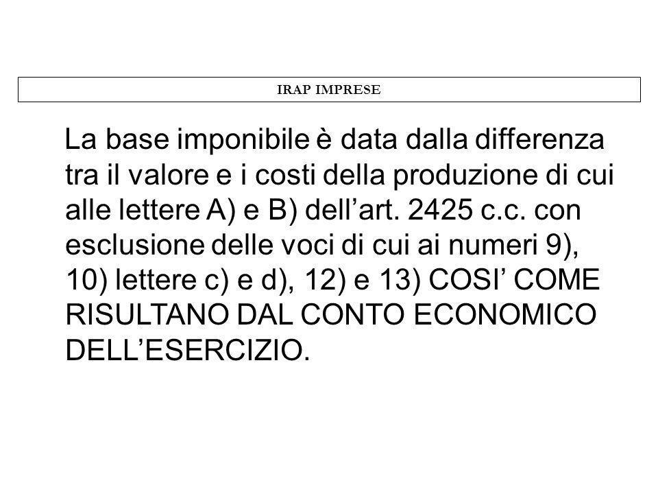 IRAP IMPRESE La base imponibile è data dalla differenza tra il valore e i costi della produzione di cui alle lettere A) e B) dellart. 2425 c.c. con es