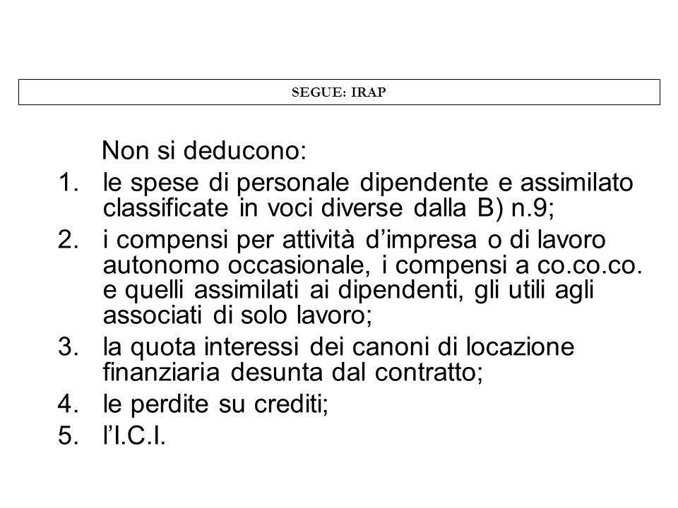 SEGUE: IRAP Non si deducono: 1.le spese di personale dipendente e assimilato classificate in voci diverse dalla B) n.9; 2.i compensi per attività dimp