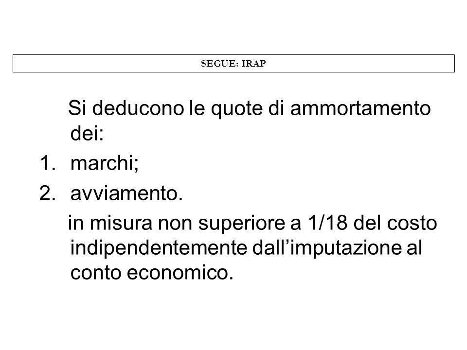 SEGUE: IRAP Si deducono le quote di ammortamento dei: 1.marchi; 2.avviamento. in misura non superiore a 1/18 del costo indipendentemente dallimputazio