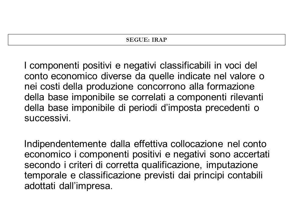 SEGUE: IRAP I componenti positivi e negativi classificabili in voci del conto economico diverse da quelle indicate nel valore o nei costi della produz