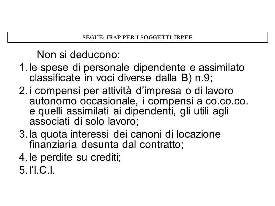 SEGUE: IRAP PER I SOGGETTI IRPEF Non si deducono: 1.le spese di personale dipendente e assimilato classificate in voci diverse dalla B) n.9; 2.i compe