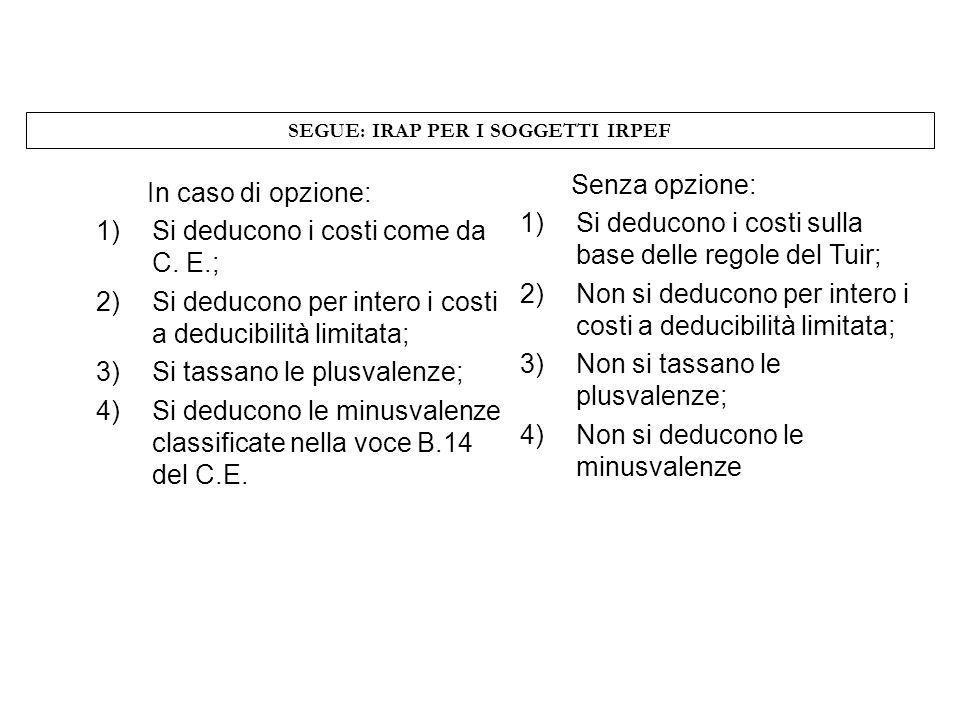 SEGUE: IRAP PER I SOGGETTI IRPEF In caso di opzione: 1)Si deducono i costi come da C. E.; 2)Si deducono per intero i costi a deducibilità limitata; 3)