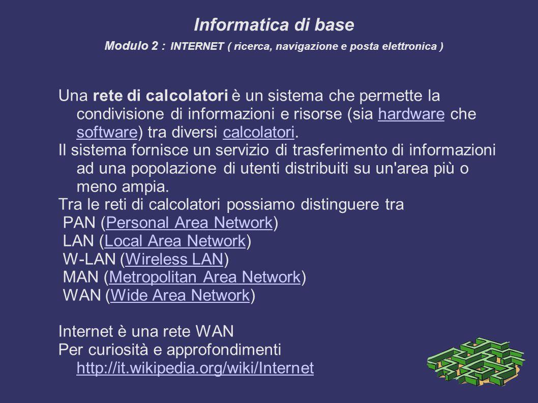Una rete di calcolatori è un sistema che permette la condivisione di informazioni e risorse (sia hardware che software) tra diversi calcolatori.hardware softwarecalcolatori Il sistema fornisce un servizio di trasferimento di informazioni ad una popolazione di utenti distribuiti su un area più o meno ampia.