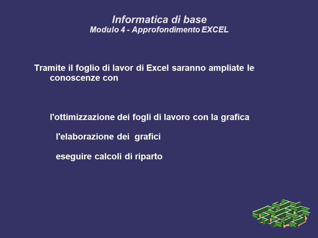 Informatica di base Modulo 4 - Approfondimento EXCEL Tramite il foglio di lavor di Excel saranno ampliate le conoscenze con l ottimizzazione dei fogli di lavoro con la grafica l elaborazione dei grafici eseguire calcoli di riparto