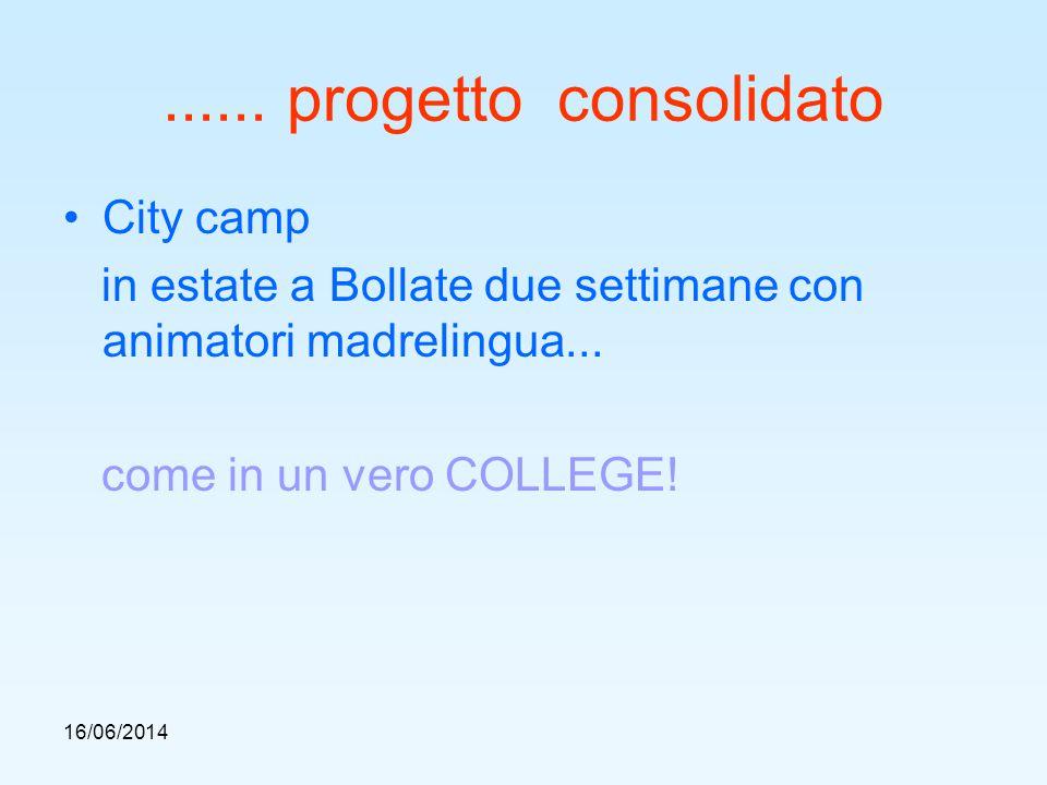 16/06/2014...... progetto consolidato City camp in estate a Bollate due settimane con animatori madrelingua... come in un vero COLLEGE!
