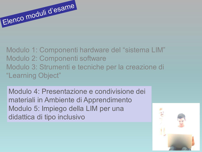 Modulo 1: Componenti hardware del sistema LIM Modulo 2: Componenti software Modulo 3: Strumenti e tecniche per la creazione di Learning Object Elenco moduli desame Modulo 4: Presentazione e condivisione dei materiali in Ambiente di Apprendimento Modulo 5: Impiego della LIM per una didattica di tipo inclusivo