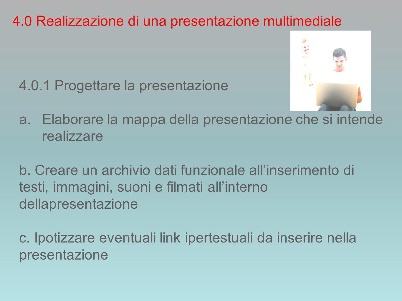 4.0.1 Progettare la presentazione a.Elaborare la mappa della presentazione che si intende realizzare b.