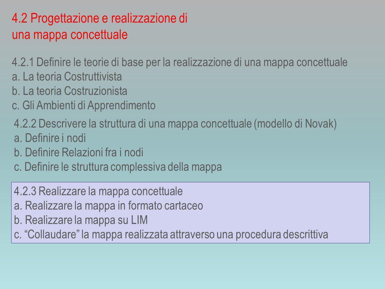 4.2.1 Definire le teorie di base per la realizzazione di una mappa concettuale a.