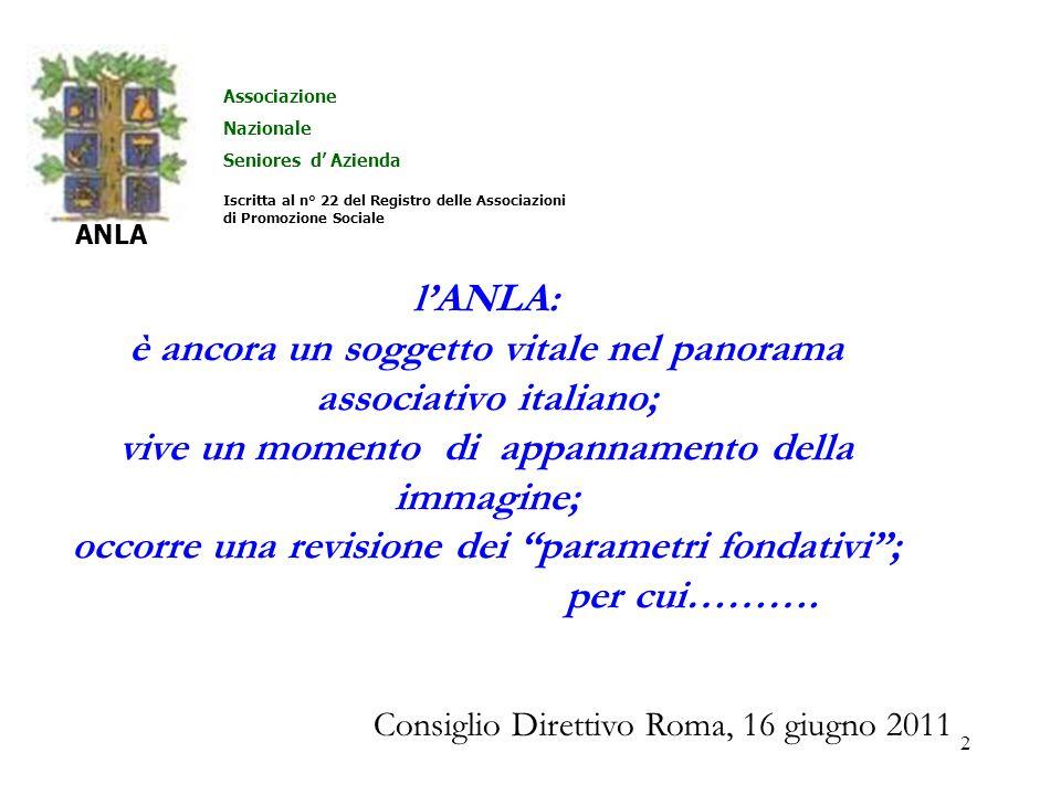 2 lANLA: è ancora un soggetto vitale nel panorama associativo italiano; vive un momento di appannamento della immagine; occorre una revisione dei parametri fondativi; per cui……….
