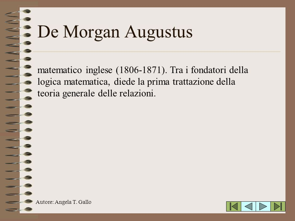 Autore: Angela T.Gallo De Morgan Augustus matematico inglese (1806-1871).