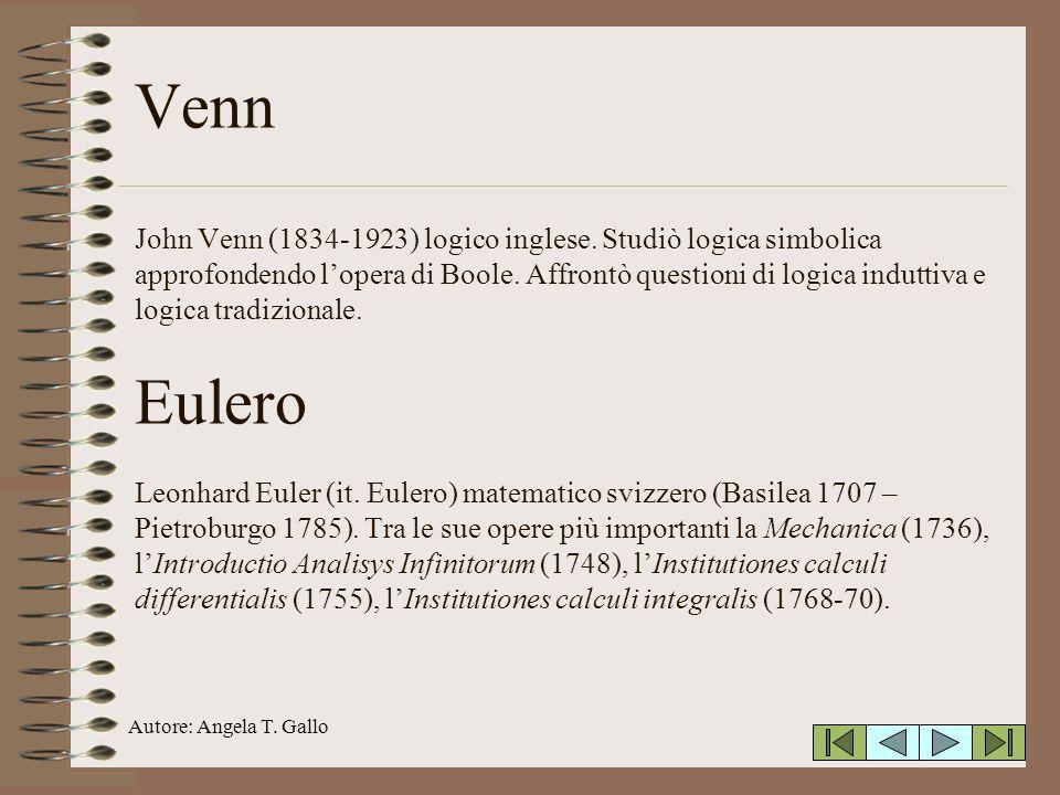 Autore: Angela T. Gallo Venn John Venn (1834-1923) logico inglese. Studiò logica simbolica approfondendo lopera di Boole. Affrontò questioni di logica
