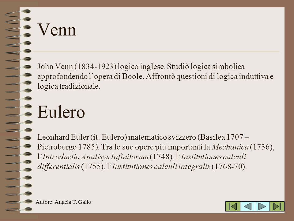 Autore: Angela T.Gallo Venn John Venn (1834-1923) logico inglese.