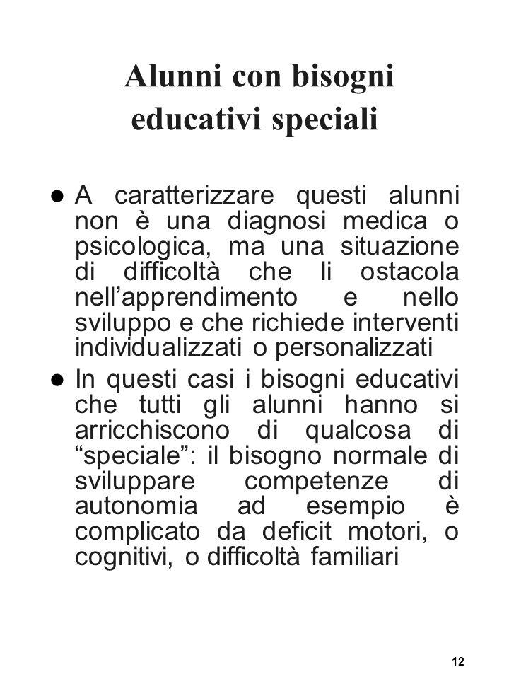12 Alunni con bisogni educativi speciali A caratterizzare questi alunni non è una diagnosi medica o psicologica, ma una situazione di difficoltà che l