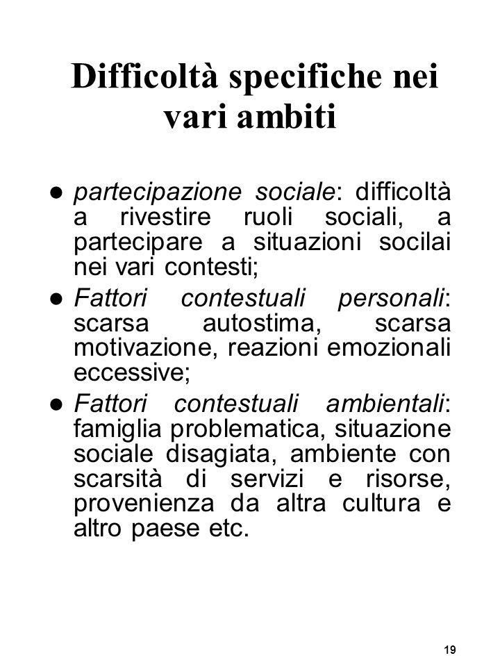 19 Difficoltà specifiche nei vari ambiti partecipazione sociale: difficoltà a rivestire ruoli sociali, a partecipare a situazioni socilai nei vari con