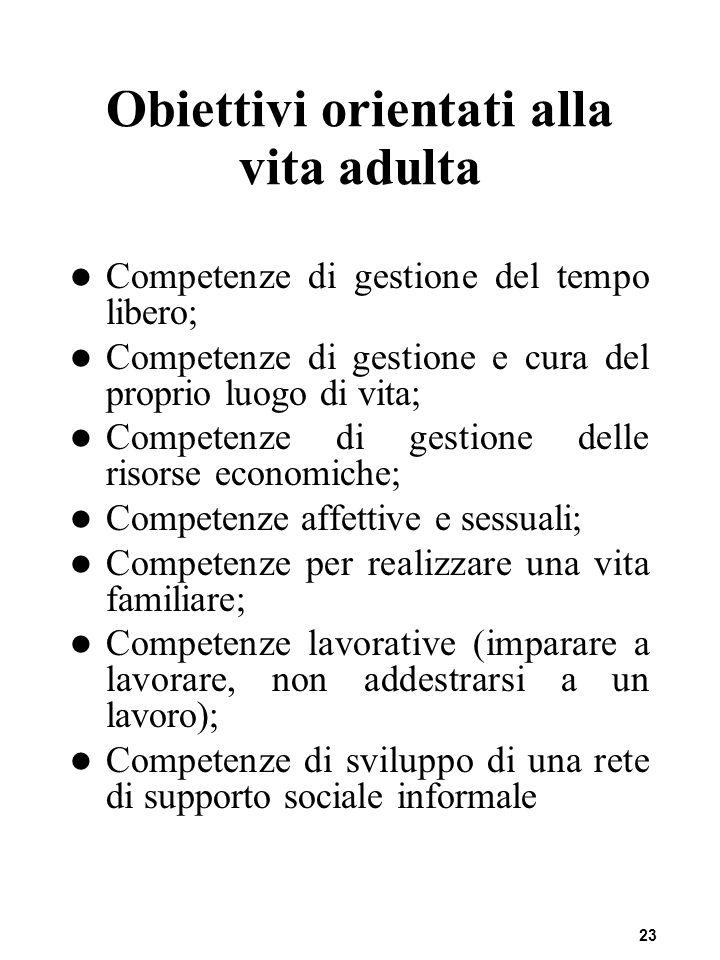 23 Obiettivi orientati alla vita adulta Competenze di gestione del tempo libero; Competenze di gestione e cura del proprio luogo di vita; Competenze d