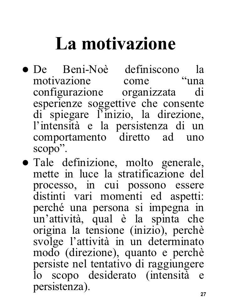 27 La motivazione De Beni-Noè definiscono la motivazione come una configurazione organizzata di esperienze soggettive che consente di spiegare linizio