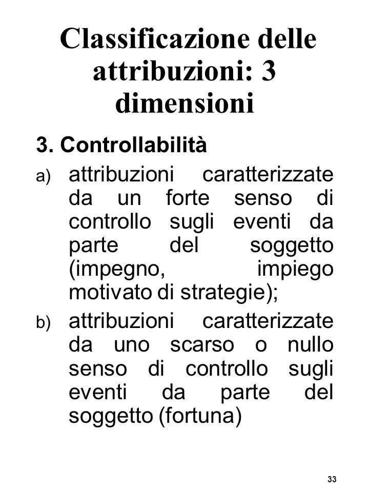 33 Classificazione delle attribuzioni: 3 dimensioni 3. Controllabilità a) attribuzioni caratterizzate da un forte senso di controllo sugli eventi da p