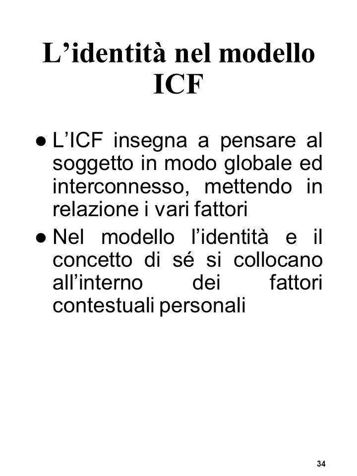 34 Lidentità nel modello ICF LICF insegna a pensare al soggetto in modo globale ed interconnesso, mettendo in relazione i vari fattori Nel modello lid