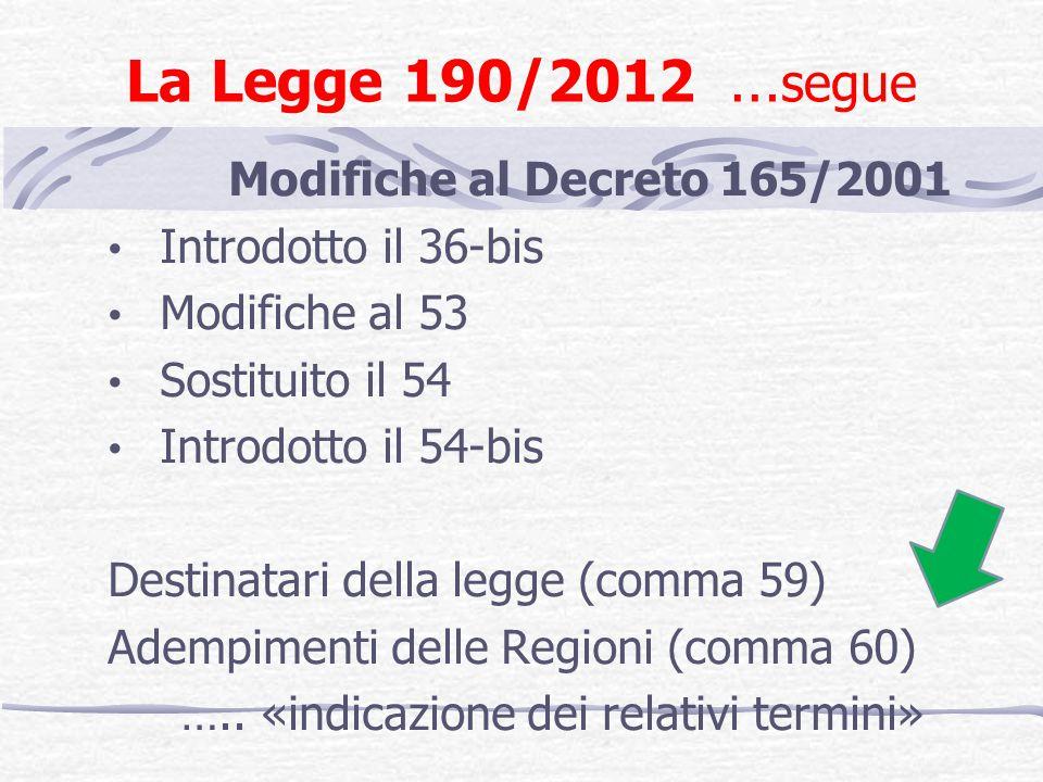La Legge 190/2012 … segue Modifiche al Decreto 165/2001 Introdotto il 36-bis Modifiche al 53 Sostituito il 54 Introdotto il 54-bis Destinatari della legge (comma 59) Adempimenti delle Regioni (comma 60) …..